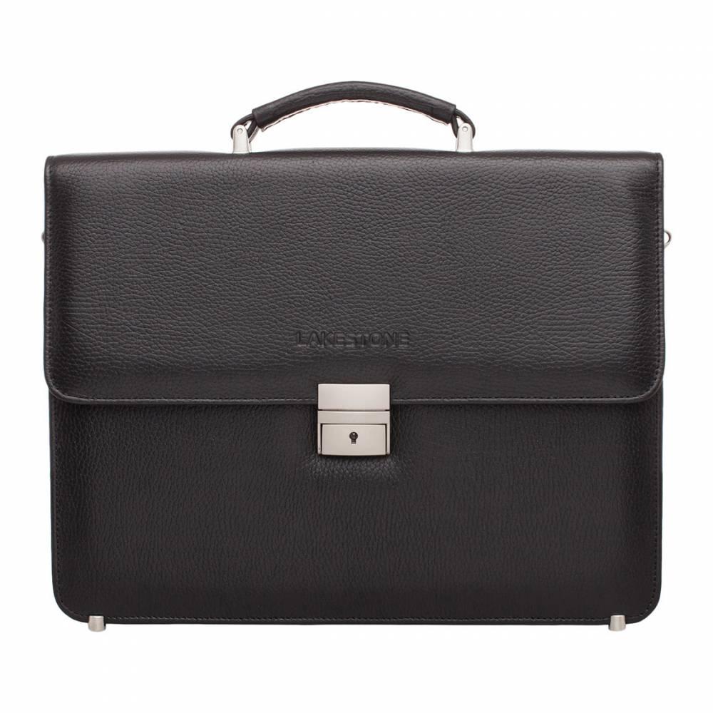 Портфель Braydon Black (F)&amp;lt;p&amp;gt;Портфель в черном цвете – аксессуар для мужчины солидного и серьезного. Представленная модель отвечает всем необходимым требованиям, которые предъявляют к деловому образу: высококачественная натуральная кожа зернистой фактуры, строгая металлическая фурнитура, стильный формат, оптимальная вместительность. &#13; Внутри изделия скрываются два основных отсека с карманом-перегородкой, который фиксируется на молнию. В портфеле достаточно места для ноутбука, документов, смартфона, портомоне и прочих мелочей, необходимых в повседневной жизни. Такой аксессуар является желанным приобретением для большинства успешных представителей сильной половины человечества. &#13; &amp;lt;/p&amp;gt;<br>