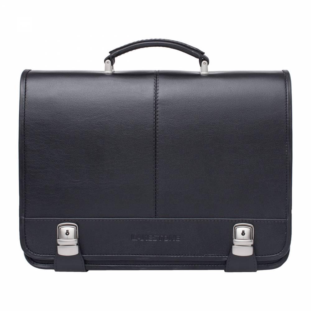 Портфель Canford BlackУдобный и притягивающий взгляды&#13; аксессуар – кожаный портфель, на 100% выполненный из натуральных&#13; материалов. Изделие имеет необычный и привлекательный дизайн, особенно&#13; интересно выполнены замки, которые как бы обхватывают портфель по всей&#13; окружности. Это не только стильное, но и надежное решение. Благодаря тому, что портфель&#13; собирался вручную, его внутреннее пространство организовано максимально&#13; функционально. Имеется место для ноутбука, есть секция для бумаг, встроены&#13; карманы открытого и закрытого типа. Взяв такой аксессуар в руки однажды, уже не&#13; захочется его променять ни на какой другой.<br>