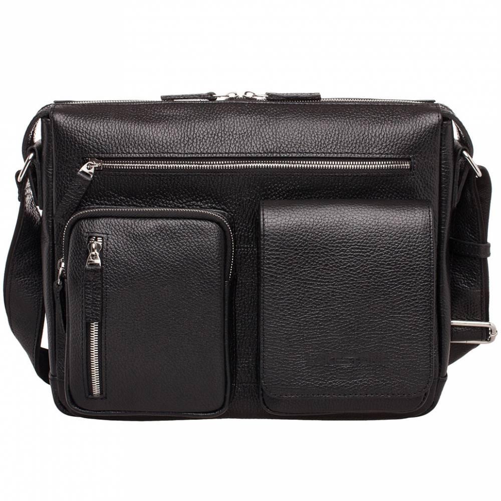 Сумка через плечо Clapton Black&amp;lt;p&amp;gt;Стильная и вместительная сумка, пошитая из качественной натуральной кожи. Ее естественный рисунок так и притягивает взгляды и вызывает желание прикоснуться. Отличительной деталью того аксессуара являются карманы, которые находятся на внешней стороне. Они одновременно выступают в качестве дополнительного места для хранения и в качестве элементов декора. &amp;lt;/p&amp;gt;&#13; &amp;lt;p&amp;gt;Внутреннее пространство грамотно организовано, позволяет транспортировать бумаги формата А4 и прочие вещи. Сумка оснащена качественной металлической фурнитурой. Молнии надежные, как и весь аксессуар в целом. Это изделие не на сезон, а на несколько лет вперед. Ведь расстаться с ним будет невероятно сложно. &#13; &amp;lt;/p&amp;gt;<br>