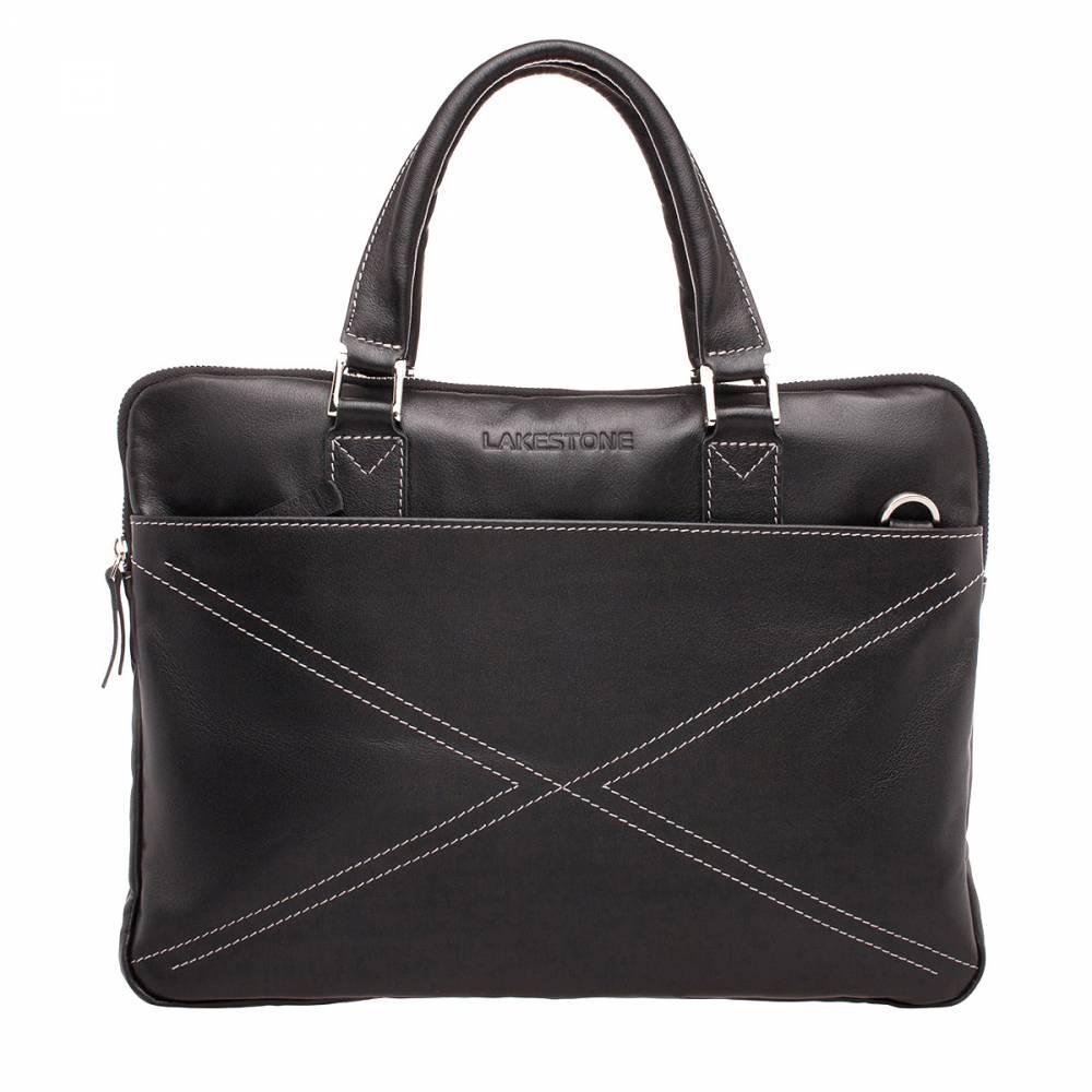 Деловая сумка Davenport Black&amp;lt;p&amp;gt;Стильная сумка с четкими строгими формами и уникальным дизайном. Аксессуар пошит из качественной натуральной кожи черного цвета. Ее выгодно оттенят строчки, которые переплетаются на фронтальной стороне изделия. &amp;lt;/p&amp;gt;&amp;lt;p&amp;gt;Внутреннее пространство грамотно организовано, в нем достаточно места для хранения электроники и документации. Доступ к основному отсеку открывает металлическая молния. С ее помощью фиксируются оба наружных кармана: на лицевой и на фронтальной стороне. &amp;lt;/p&amp;gt;&amp;lt;p&amp;gt;Сумку можно носить в руке, она оснащена двумя ручками анатомической формы. Если есть необходимость разгрузить руки, то можно воспользоваться плечевым ремнем. Он является съемным.&amp;amp;nbsp;&amp;lt;/p&amp;gt;<br>